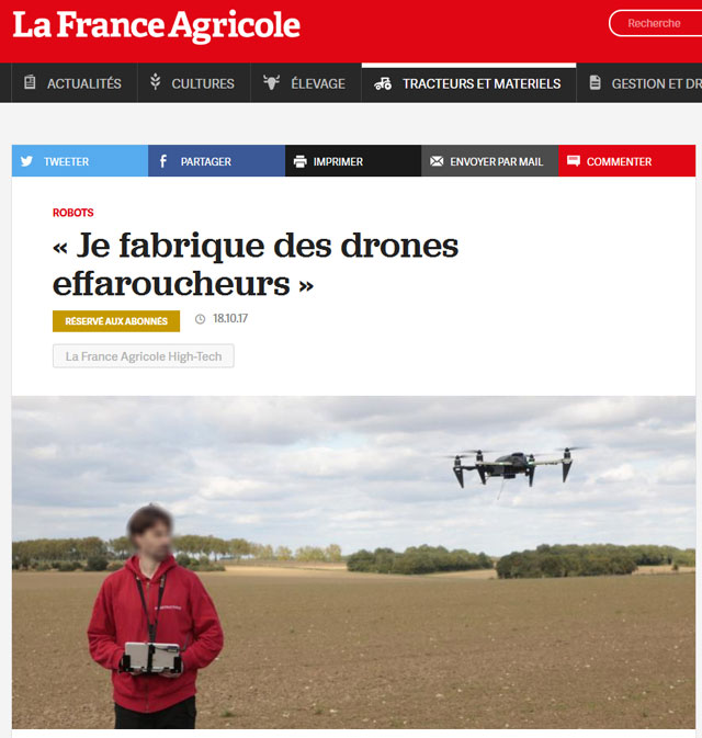 Agristructures artcile drone France Agricole